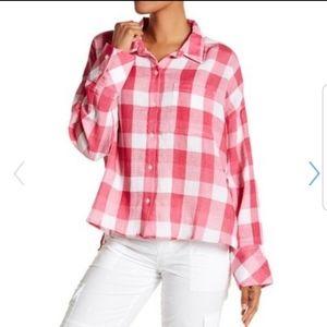 Sanctuary pink/white plaid button down shirt